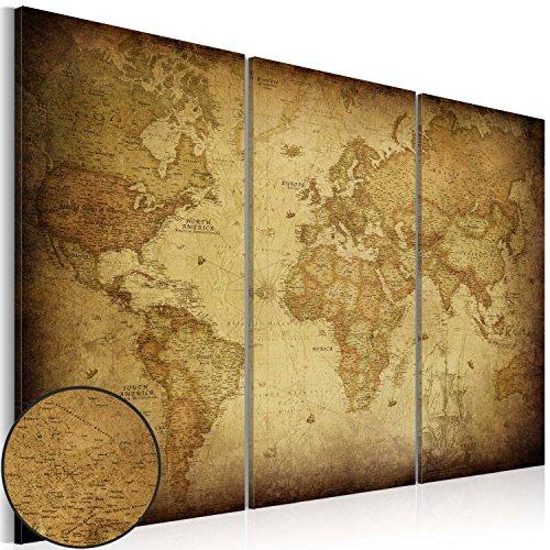 murando - Cuadro 120x80 - impresión de 3 Piezas en Material Tejido no Tejido impresión artística fotografía Imagen gráfica - decoración de Pared Mapa del Mundo k-A-0007-b-e