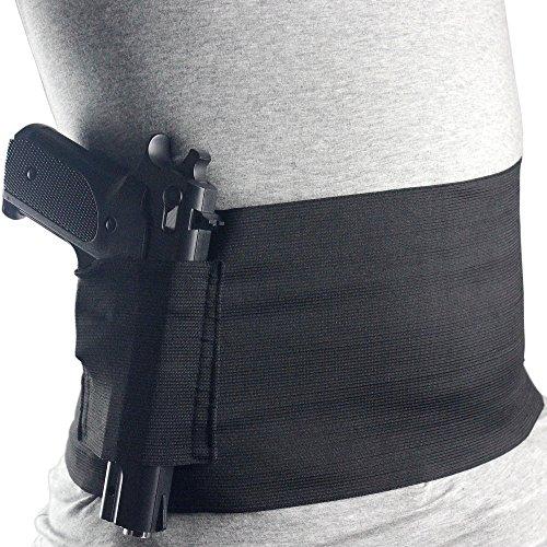 Gexgune Taktische elastische Taille verdeckt tragen Bauch Band Pistole Pistole 2 Magazin Beutel für Glock 23 Sig 226 (L:Fit Taille von 32''-64.5'')