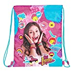 PERLETTI Disney Drawstring Sac for Girls - Soy Luna Gym Bag for Kids - Waterproof Training Shoe Bag ideal for travel and sport - Pink - 39x31 cm