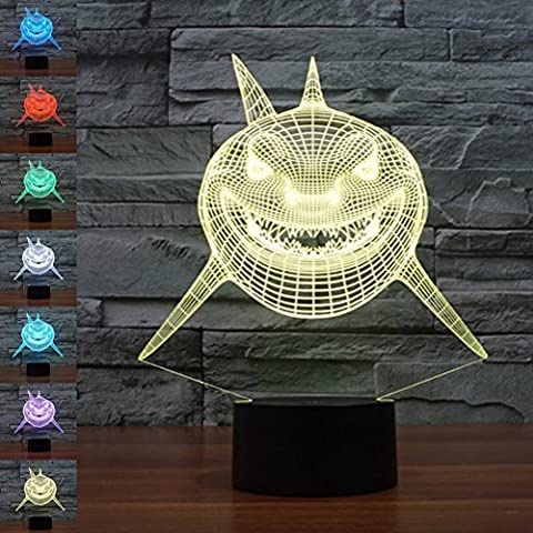 3D Illusion Lamp jawell Night Light Big Shark 7 Changing Colors Touch USB Table Nice Gift Toys Decorations