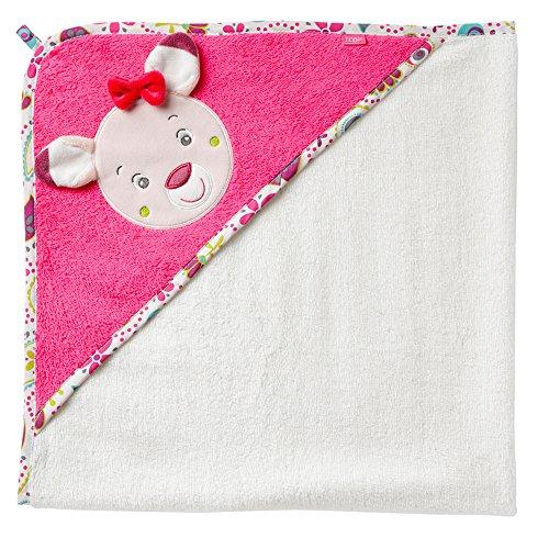 Fehn 076851 Kapuzenbadetuch Rehkitz / Bade-Poncho aus Baumwolle mit Rehhkitz Motiv für Babys und Kleinkinder ab 0+ Monaten / Maße: 80x80cm (Kapuzen-badetücher Für Baby Mädchen)