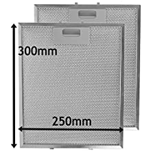 SPARES2GO Cooker Hood Metal Mesh Grease Filter for Kitchen Extractor Fan Vent (Pack of 2 Filters, Silver, 300 x 250 mm)