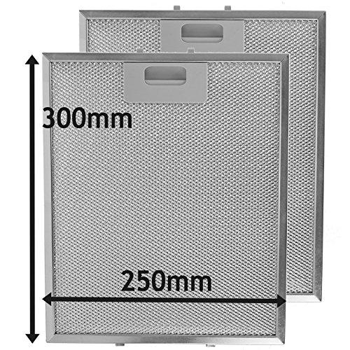 Spares2go Fett-Filter für Dunstabzugshaube, Metall-Geflecht für Küchen-Abluftventilator, silberfarben, 300mm x 250 mm, 2 Stück