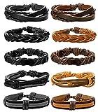 BE STEEL Schmuck 10 Stücke Leder Armbänder für Herren und Damen Armband Geflochten Länge Elastisch