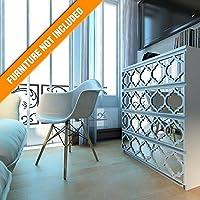 HomeArtDecor | Treillis Recouvrir | Convient pour IKEA Malm | 80 x 20 cm | Couleur: Blanc et Miroir | Décoration de Meubles | Moderne Superposition | Décoration de Maison