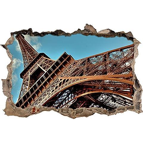 enorme Torre Eiffel a Parigi svolta muro in look 3D, parete o in formato adesivo porta: 62x42cm, autoadesivi della parete, autoadesivo della parete, decorazione della