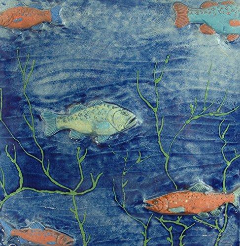 Echtes Kunsthandwerk: Tolle riesige Relief Fliese Fische; Aquarium, Bad, Badezimmer, Tier, Tiere, Kunst, Kachel, Fliesenbild, Bild