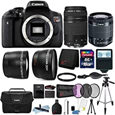 Canon Eos Rebel T6i 24.2MP Built-in WiFi DSLR Camera 18-55mm Lens, 75-300mm Lens, Canon 100ES Case and Accessory Bundle