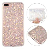 iPhone 7 Plus Hülle, iPhone 8 Plus Glitzer Case Rosa Schleife 3D Bling Shiny Case Transparent TPU Silikon Back Cover Glitzer Handyhülle Bling Schale Beschützer Haut Case für iPhone 7 Plus Lila