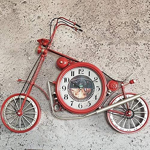 SMAQZ Wanduhr - amerikanische schmiedeeisen motorraduhr wanduhr, wanddekoration rot 67 * 58 * 4,5 cm