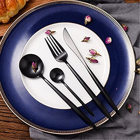 LEKOCH 4-Piece 18/10 Stainless Steel Flatware Including Fork Spoons Knife Cutlery Set (Black)