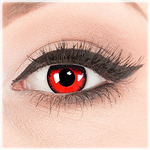 Funnylens 1 Paar farbige rote schwarze Crazy Fun volturi Jahres Kontaktlinsen.Topqualität zu Halloween und Karneval mit gratis Kontaktlinsenbehälter ohne Stärke!