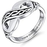 Bff Personalizzato Amore Irlandese Nodo Celtico Banda Infinito Anello Per Teen Argento 925 Inciso Personalizzato