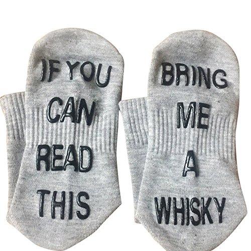 HCFKJ  Socken, Frauen Weiß Mesh Letter Print Short Bring Me Whisky Lustige Socken (GY)