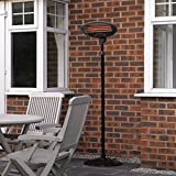 Kingfisher Free Standing Patio Heater, Black, 1.7-2.1 m