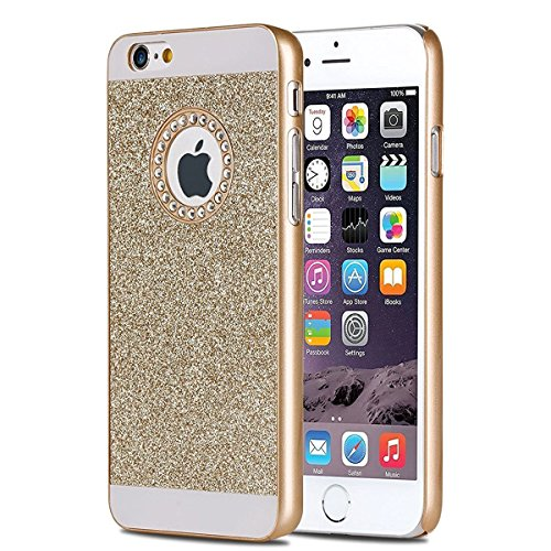 Coque Housse Etui pour iPhone 7/iPhone 8, iPhone 7/8 d'or Coque en Silicone Placage Coque Clair Ultra-Mince Etui Housse Glitter Paillette,iPhone 7 Silicone Case Gold Slim Soft Gel Cover with Diamond,  PC Diamant Glitter-d'or