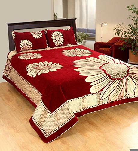 Style Your Home Shaneel Velvet DoublE Bed Cover with 2 Pillow Covers - Mahroon color