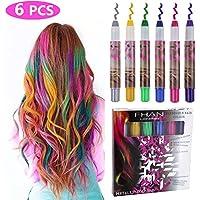 Philonext Set de tizas para el pelo - 6 colores profesionales de pelo ceroso tiza plumas