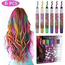 Philonext Set de tizas para el pelo - 6 colores profesionales de pelo ceroso tiza plumas no tóxico brillo metálico color de pelo temporal