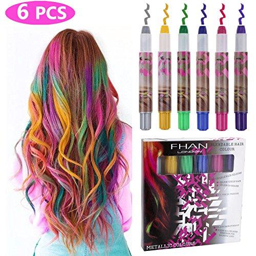 Philonext Hair Chalks Set - 6 bunte professionelle Wachs Haar Kreide Stifte ungiftig Metallic Glitter temporäre Haarfarbe, kein Durcheinander, funktioniert auf allen Haarfarben