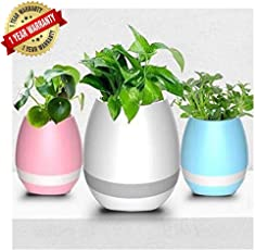Ascension Music Flowerpot, Smart Plant Pots, Touch Music Plant Lamp with Rechargeable Wireless Bluetooth Speaker and Led Night Light