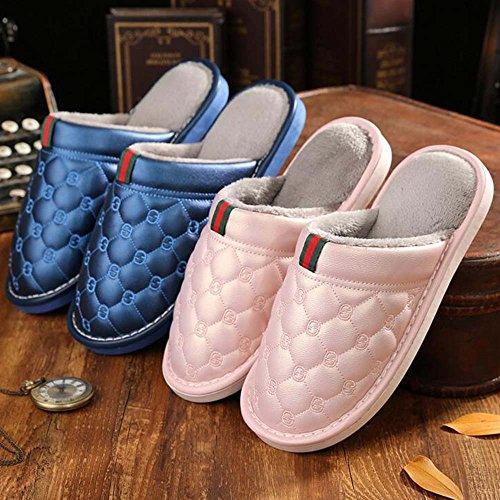 Eastlion delle donne e degli uomini PU anti-Skid tenere in caldo impermeabile scarpe scarpetta interna con peluche interno Rosa