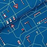 Jersey Stoff -Blaubeerstern -Unterwegs -der Eisenbahn -Blau