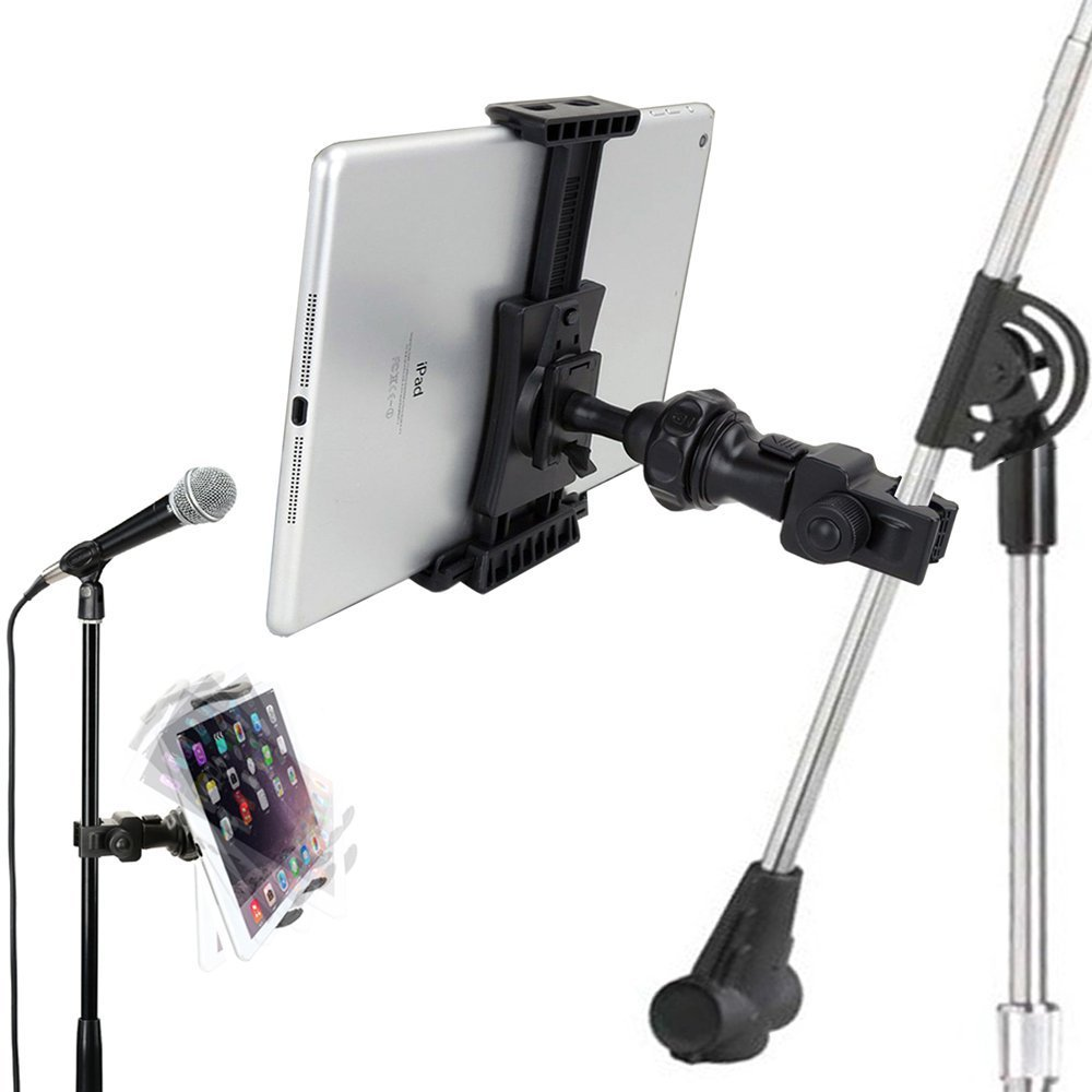 microphone and tablet holder ipad mic stand clamp mount music audition universal. Black Bedroom Furniture Sets. Home Design Ideas