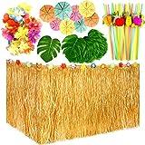 TUPARKA 149 PCS Hawaiian Tropical Party Decoration Set con 9ft Hawaiian Gonna da Tavolo in Erba, Foglie Tropicali, Fiori hawaiani, ombrelli e cannucce di Frutta per Jungle Beach per Feste