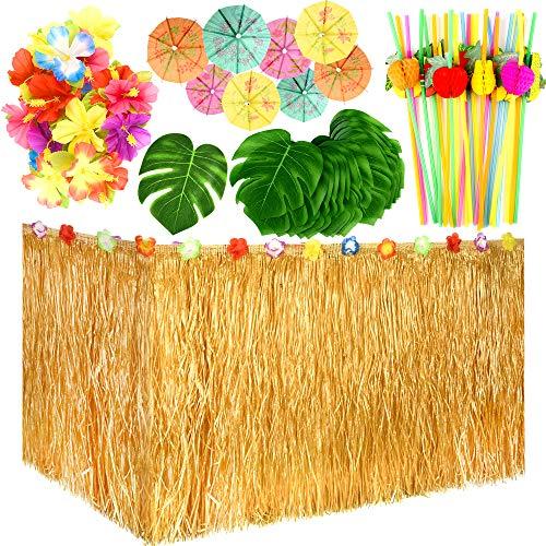 (TUPARKA 149 Stück HawaiianTropical Party Dekoration Set mit HawaiianGrassTisch Rock, Tropische Blätter, Hawaiian Flowers, Regenschirm Picks und Frucht Strohhalme für Jungle Beach Party Dekorationen)