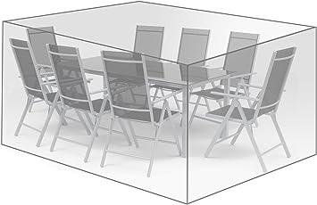 WOLTU® Schutzhülle Schutzhaube Gartenmöbel Abdeckplane Abdeckhaube eckig Gewebeplane Abdeckung für Sitzgruppe transparent