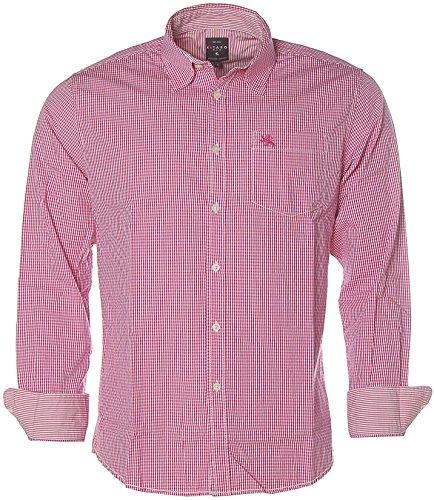 Kitaro Herren Langarm Shirt Hemd Freizeithemd Kentkragen Karo Super Pink