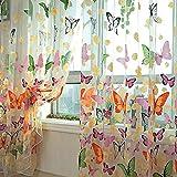 Miabens Cortina Fina de Mariposa Estampada Cortina de Panel Colorido Tul Separador para Ventana Balcón Habitación 100*200cm