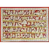 Tallenge - Hanuman Chalisa III - Phad Ramayan Painting- Large Canvas - Unframed (23 x 34 inches)
