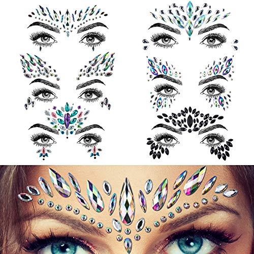 Juwelen Aufkleber Gesicht Strass Tattoo Körper Kristall Festival Glitter Edelstein Für Parties Shows Make-Up Gesicht Haut Kunst (6pcs)