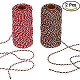 Bäckergarn, AIEX Weihnachtsschnur 2 mm Baumwolle String für Geschenkpapier, Kunsthandwerk 656 Füße insgesamt (2 Stück)