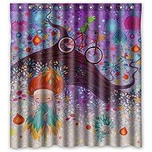 """zeng custom Tenda da doccia poliestere impermeabile rana bicicletta ragazza fiore foglie tende da bagno viola accessori per il bagno 66""""x72"""""""