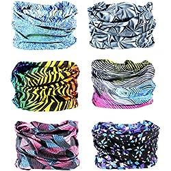 (One size, Bright color Series) - 6 PCS Seamless Multifunctional Headwear Bandana Scarf Tube Elastic Headband UV Resistance Headwrap for Running Riding Hiking Yoga Sports
