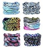 FAYBOX BRIDAL 6 STK Nahtlose Bandanas Multifunktionstuch Elastische Halstuch Schlauchtuch Sport Kopfbedeckung für Yoga, Wandern Reiten Motorradfahren