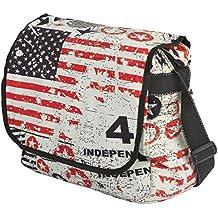 Bolsa bandolera para mujer - Algodón - Diseño barras y estrellas / EE.UU.