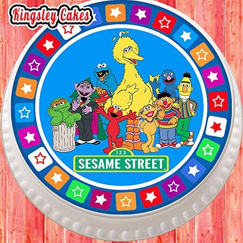 Topper per torta pretagliato commestibile glassa grande-19,1cm rotondo Sesame Street Gang con Star Border - Sesame Street Topper