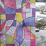 Concus-T Estática No Se Adhiere Vinilo Vinilo De Primera Calidad Ventana De Cristal Decorativo Con Arte Geométrico Coloreado 45*200cm