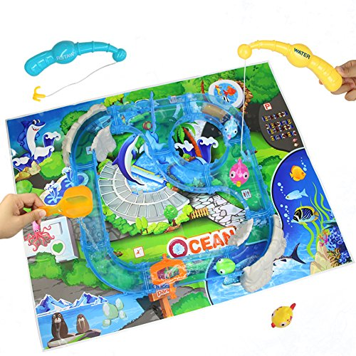 Akokie Juegos de Agua, Mesa de Agua, Juego de Pesca con Juguete de Brillo de la Música para Playa Piscina para Niños 3 4 5 6 Años, Entrega al Azar de 2 Estilos
