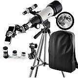 Télescope 400 mm, Ouverture 70 mm, Monture AZ : Bon télescope de Voyage avec Sac à Dos, idéal pour Les Enfants et Les débutants pour Observer la Lune et Les planètes (70400 Telescope)