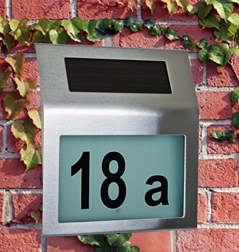 Design LED Solar Hausnummer aus Edelstahl