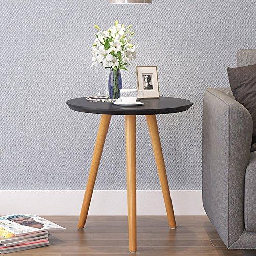 Table XIAOYAN Basse WoodLuv Vintage Bord Rond/café/Salle à Manger/lumière Basse - Blanc, texturé, Noir Multifonctionnel (Couleur : Noir, Taille : 48 * 61CM)