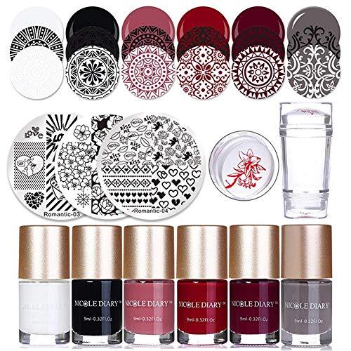 NICOLE DIARY 6 Flaschen Stamping polnischen Nail Art Varnish 3Pcs Stempeln Template Polnischen Stamper und Schaber