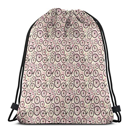 Portfolio Drawing Kit (Juziwen Printed Drawstring Backpacks Bags,Romantic Doodle Drawing with Pink Blossoms Fun Activity Youth,Adjustable String Closure)