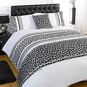 dreamscene bettw sche set leopard grau single einzel k che haushalt. Black Bedroom Furniture Sets. Home Design Ideas