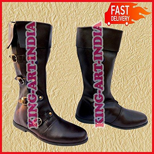 NASIR ALI Mittelalter Leder Stiefel Renaissance Schuhe Viking Schuh Herren Braun Lang 4Schnalle -